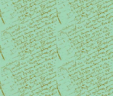 French Script Pistachio fabric by karenharveycox on Spoonflower - custom fabric