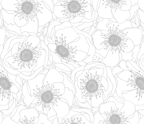 White Anemones - SILVER fabric - pattysloniger - Spoonflower