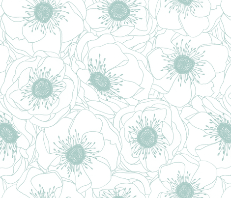 White Anemones - ROBIN'S EGG fabric by pattysloniger on Spoonflower - custom fabric
