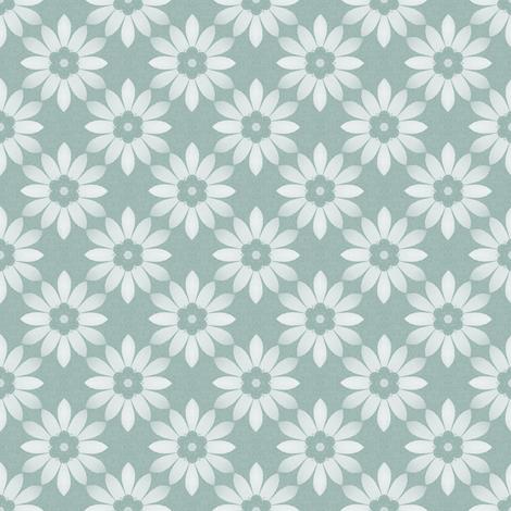 white flower on blue fabric by oranshpeel on Spoonflower - custom fabric