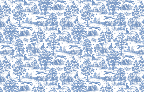 Soft Blue Greyhound Toile ©2010 by Jane Walker fabric by artbyjanewalker on Spoonflower - custom fabric