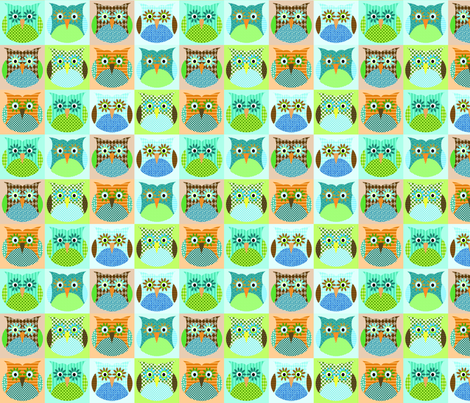 Alexander Owls - blue fabric by petunias on Spoonflower - custom fabric