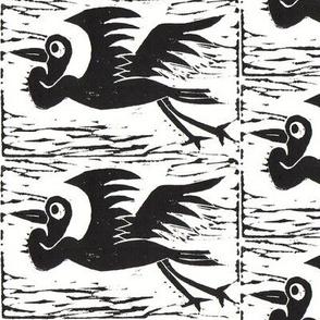 Heron Block Print