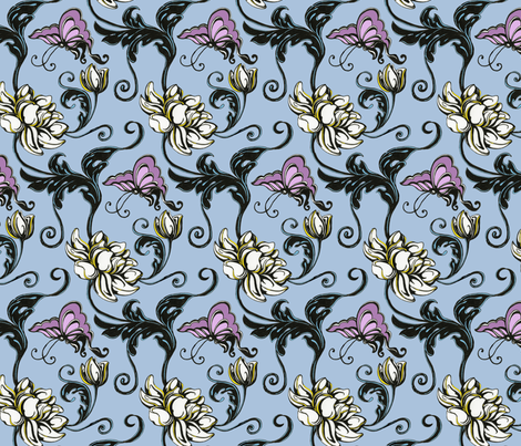 """Blooms & Butterflies""  fabric by muz on Spoonflower - custom fabric"