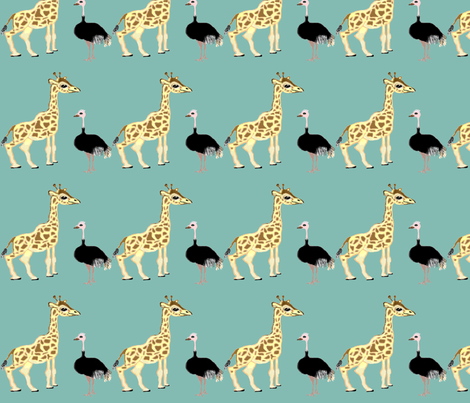 Ozzie_Gigi_on_Teal fabric by auntiecats on Spoonflower - custom fabric