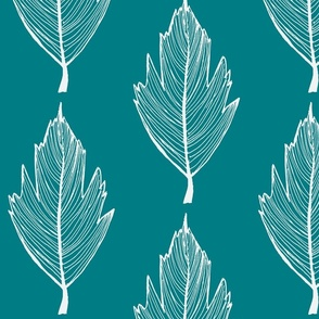 thin white and teal leaf