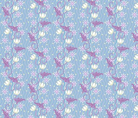 Flowers and Fireflies fabric by siya on Spoonflower - custom fabric