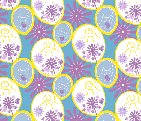 Sun and Clouds fabric by julievfoster on Spoonflower - custom fabric