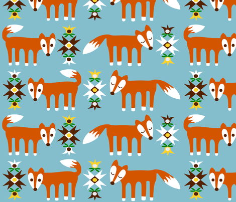 Foxes large fabric by em_wie_maike on Spoonflower - custom fabric