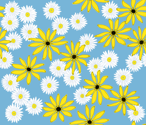 Daisy_and_susan_dancing_in_the_meadow fabric by victorialasher on Spoonflower - custom fabric