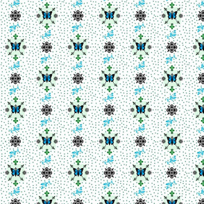 Fleur-de-lis butterfly dots  Mothers Garden