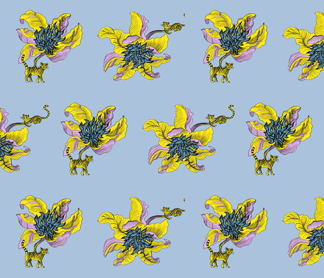 Los gatos flor fabric by dominique on Spoonflower - custom fabric