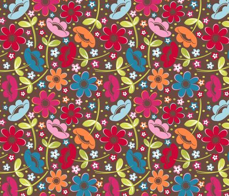Tossed Floral Chocolate fabric by melaniesullivan on Spoonflower - custom fabric
