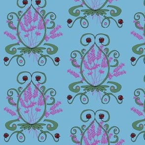 Lavender and Red Clover Damask_red