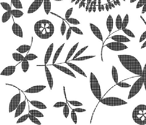 Botanical Crosshatch-Black fabric by elephantandrose on Spoonflower - custom fabric