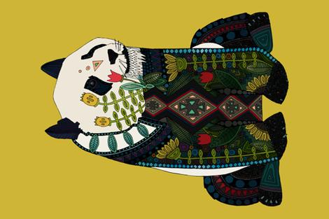 panda ochre custom panel fabric by scrummy on Spoonflower - custom fabric