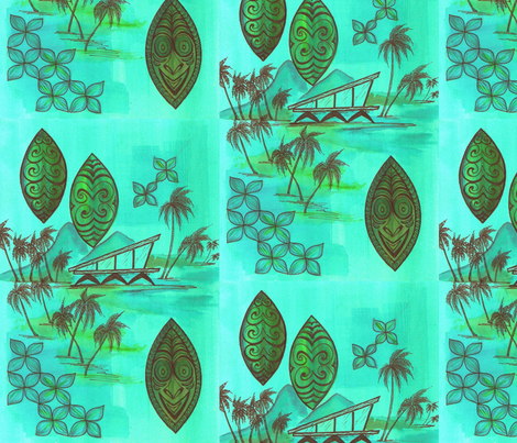 beach_hut_in_blue_001 fabric by sophista-tiki_by_dawn_frasier on Spoonflower - custom fabric