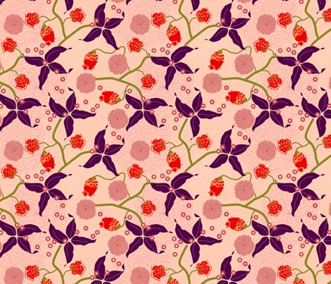 jungle delights pink stars fabric by fiona_mcdonald_juicyapple on Spoonflower - custom fabric