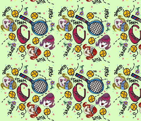 Sport Tennis Girl fabric by cyndilou on Spoonflower - custom fabric