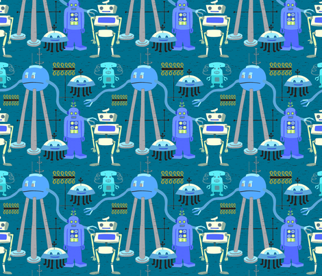 Retro Robot Blue Gray 2A fabric by vinpauld on Spoonflower - custom fabric