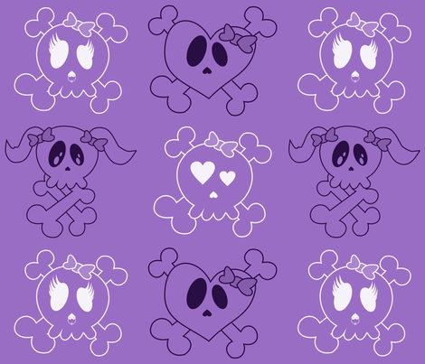 Larger Purple Skulls fabric by jnifr on Spoonflower - custom fabric