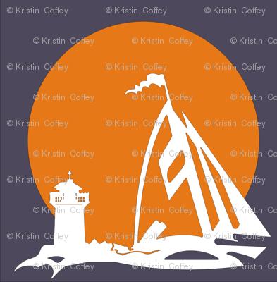 orange sailboat with lighthouse
