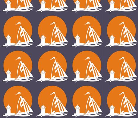 orange sailboat with lighthouse fabric by koffeycakes on Spoonflower - custom fabric