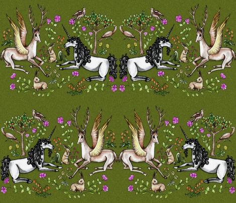 medieval unicorn garden fabric uzumakijo Spoonflower