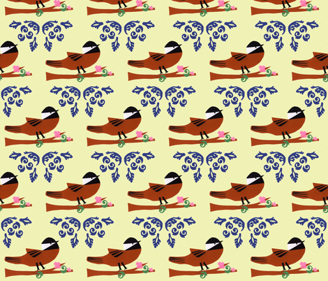 Chicka-Dee-Dee-Dee yellow fabric by owlandchickadee on Spoonflower - custom fabric