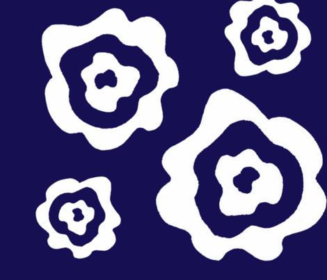 Flower Power - Blue & White fabric by dapple_gray_designs on Spoonflower - custom fabric