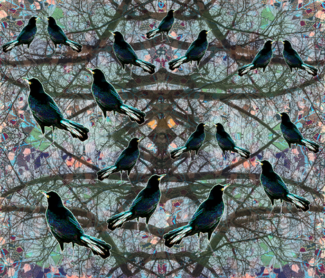 Crows in the Tree Tops fabric by rubyrice on Spoonflower - custom fabric