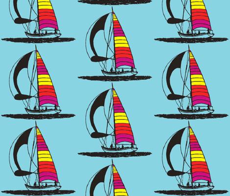 Red sailboat fabric by koffeycakes on Spoonflower - custom fabric