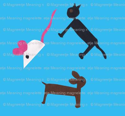 a mouse, a cat, a dog