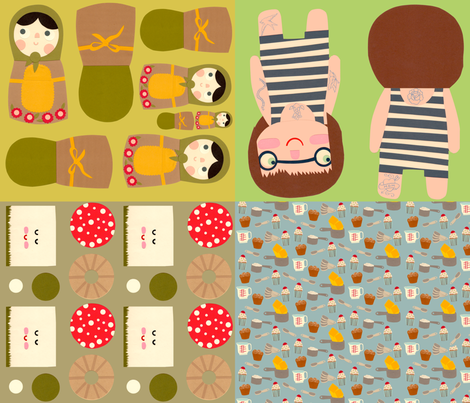 doll patterns fabric by heidikenney on Spoonflower - custom fabric