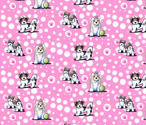 LG Biewer Yorkie Terriers On Pink fabric by kiniart on Spoonflower - custom fabric