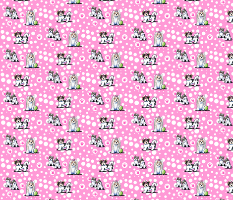 Small Biewer Yorkies On Pink fabric by kiniart on Spoonflower - custom fabric