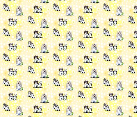 Small Biewer Yorkies On Yellow fabric by kiniart on Spoonflower - custom fabric