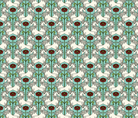 Unicorns & Flowers 4 fabric by lord-orlando on Spoonflower - custom fabric