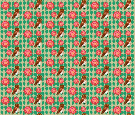 cactus_flower_elf_owl_1 fabric by owlandchickadee on Spoonflower - custom fabric
