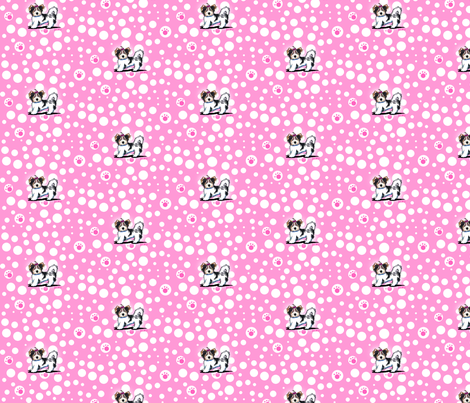 Small Biewer Yorkie Girl On Pink fabric by kiniart on Spoonflower - custom fabric