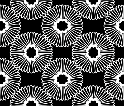 Large Floral - Black/white fabric by elephantandrose on Spoonflower - custom fabric