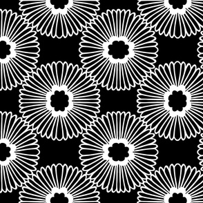 Large Floral - Black/white