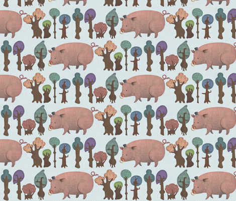 piggy-wig in bong tree wood fabric by carrieanne on Spoonflower - custom fabric