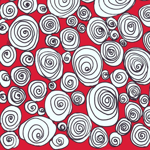 doodled circles in red