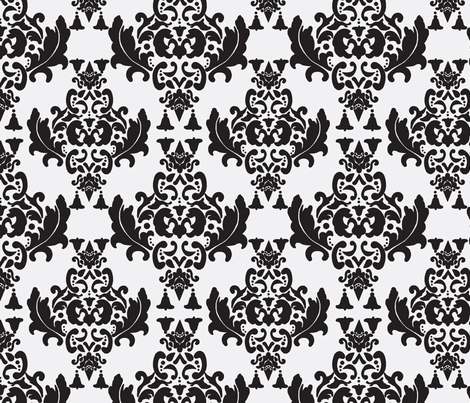 Black and White Damask fabric by mayabella on Spoonflower - custom fabric