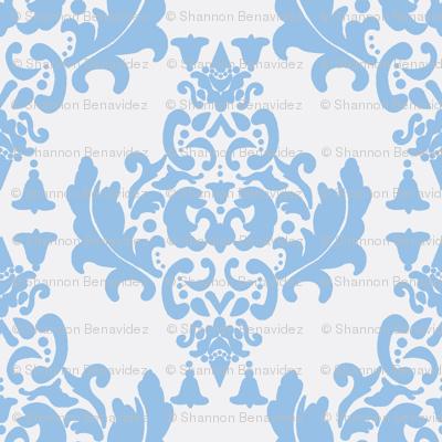 Damask- Light Blue on White