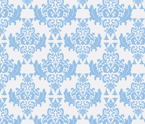 Damask- Light Blue on White   fabric by mayabella on Spoonflower - custom fabric