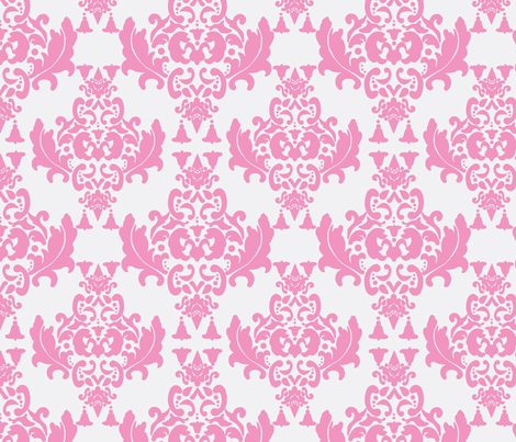 Pink on White Damask fabric by mayabella on Spoonflower - custom fabric