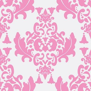 Pink on White Damask