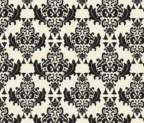 Black and Cream Damask fabric by mayabella on Spoonflower - custom fabric